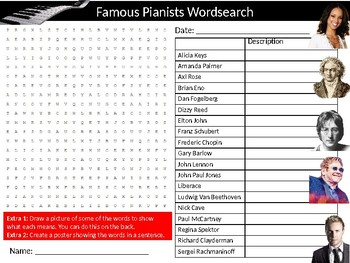Pianists Wordsearch Sheet Starter Activity Keywords Musicians Music