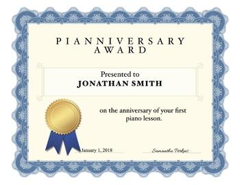Pianniversary Cards -  Giraffe and Certificate