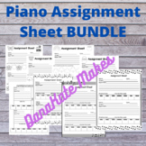 Piano Assignment Sheet BUNDLE