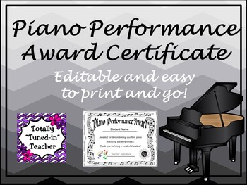 Piano Award Certificate