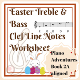 Easter Treble and Bass Clef Line Notes Worksheet for Piano Beginners