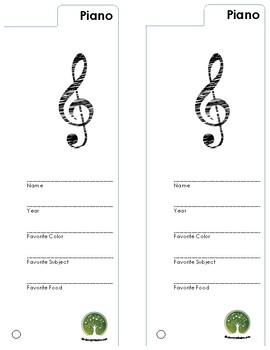 "Piano Binder ""Bookmark"""
