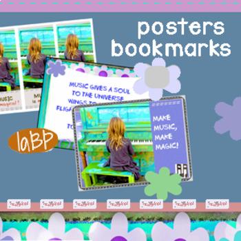 Piano girl poster, Plato quote poster, piano bookmarks: music decor