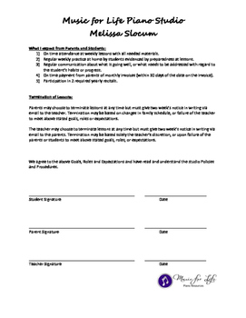 Piano Goals, Roles, Expectations Contract for Parents, Student, Teacher