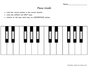Piano Graphic Organizer for Music Theory