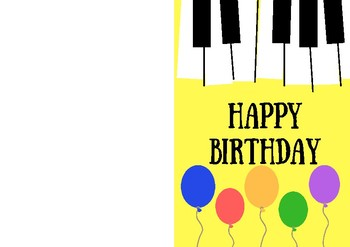 Piano Happy Birthday Card