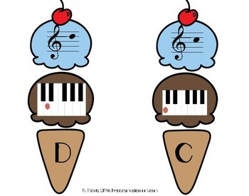 Piano Ice Cream Matching Game for End of Year or Summer Music Centers