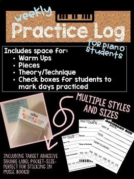 Piano/Instrument Weekly Practice Log