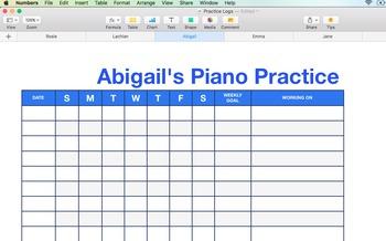 Piano / Instrumental Teaching Practice Logs - Adjustable