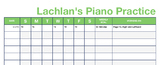 Piano / Instrumental Teaching Practice Logs - Adjustable
