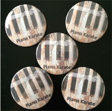 Piano Karate Badges (Buttons)- 1 set of 5