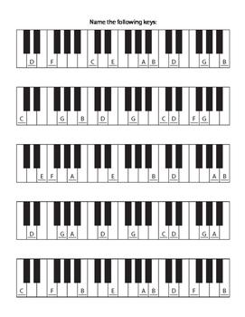 Piano Key Identification Worksheet