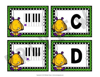 Piano Key Monsters {Music Alphabet Cards ABCDEFG, Color & Ink-Friendly}