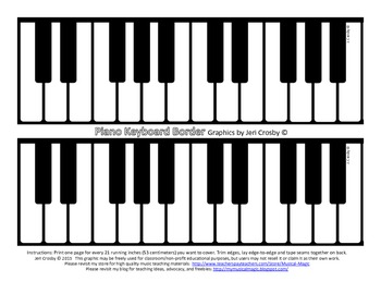 Piano Keyboard Border -       Board Runner or Bulletin Board Trim - FREE