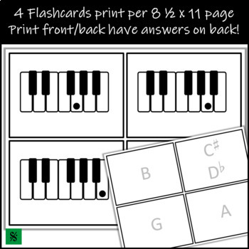 Piano Keyboard Flashcards and Slideshow