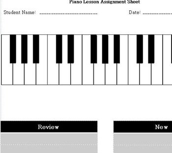 Piano Lesson Assignement Sheet