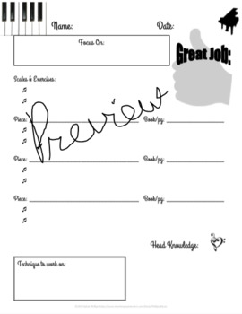 Piano Lesson Assignment Sheet