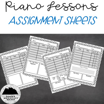 Piano Lesson Assignment Sheets
