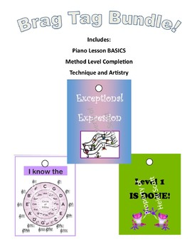 Piano Lesson Brag Tag BUNDLE! Basics, Method Level Completion AND Technique