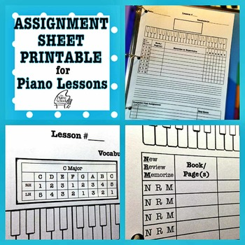 Piano Lessons Assignment Sheet