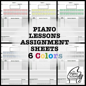 Piano Lessons Assignment Sheets 6 Colors
