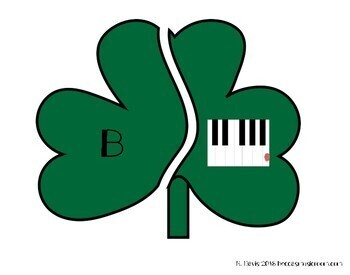 Piano Shamrocks Matching Game for Music Centers