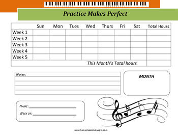 Piano Monthly Practice Log