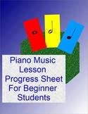 Piano Music Lesson Progress Sheet For Beginner Students