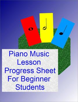 Piano Music Lesson Progress Sheet For Beginner Students