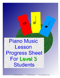 Piano Music Lesson Progress Sheet For Level 3 Students