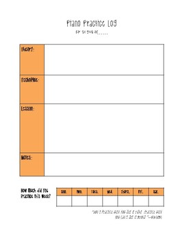 Piano Practice Log and Assignment Sheet