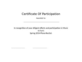 Piano Recital Certificate of Participation Template