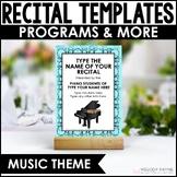 Piano Recital Kit {EDITABLE}: Invitations, Program Templates, & Certificates