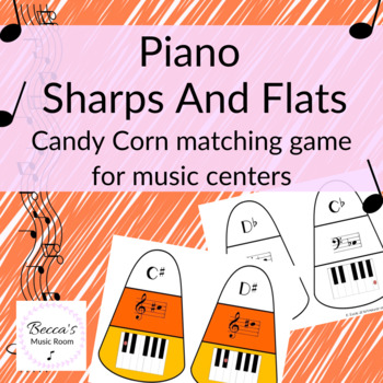 Piano Sharps and Flats Candy Corn Matching Game for Fall Music Centers