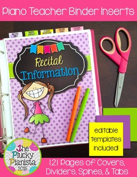 Piano Teacher Binder Inserts, Covers, Dividers, Spines, Tabs {EDITABLE}