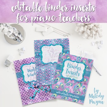 Music & Piano Teacher Binder Inserts: Purple Peacock {EDITABLE}