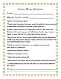 Piano Teacher Lesson Summer Memory Challenge Worksheet Form