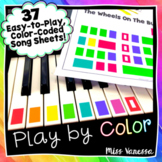 ♫ It's Easy to Play Music by Color! ~ 23 Color-Coded Piano Song Sheets ♫