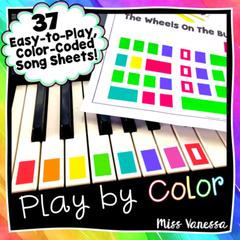 ♫ It's Easy to Play by Color!  25 Color-Coded Piano Song Sheets ♫