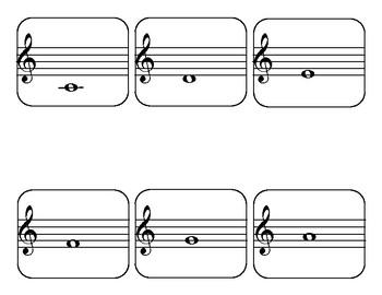 Piano notes memory card game