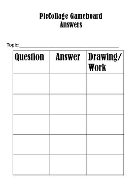 PicCollage Gameboard Answer Template