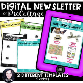 Pic Collage Digital Newsletter Templates (Rainbow Watercolor)