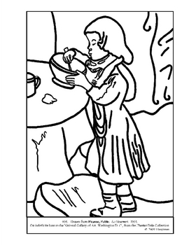 Picasso, Pablo.  Le Gourmet.  Coloring page and lesson plan ideas