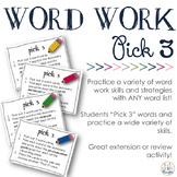 Pick 3 Pack: Word Work Skill Practice