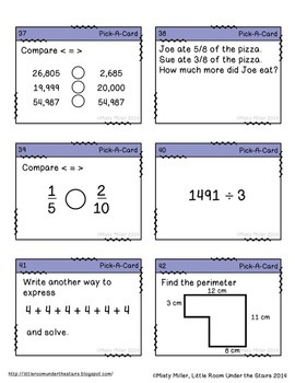 Math Task Cards Grade 4