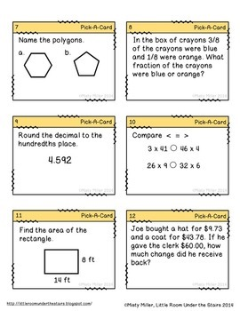 Math Task Cards Grade 5 {Free - First 12 cards}