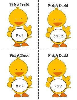 Pick A Duck Multiplication Center, Basic Fact Practice, Printables, & Bingo