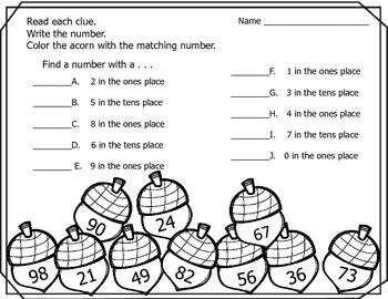Autumn (Fall)  Place Value (Tens and Ones)