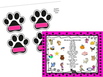 Pick A Pair Of Perfect Paws - Rhythm/Song Title Matching Game - (File Folder)