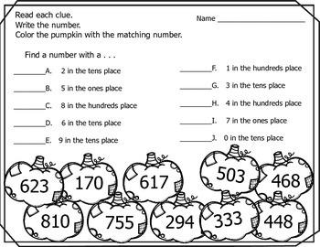 Pumpkin Place Value (Fall/Autumn) - Thousands, Hundreds, Tens & Ones